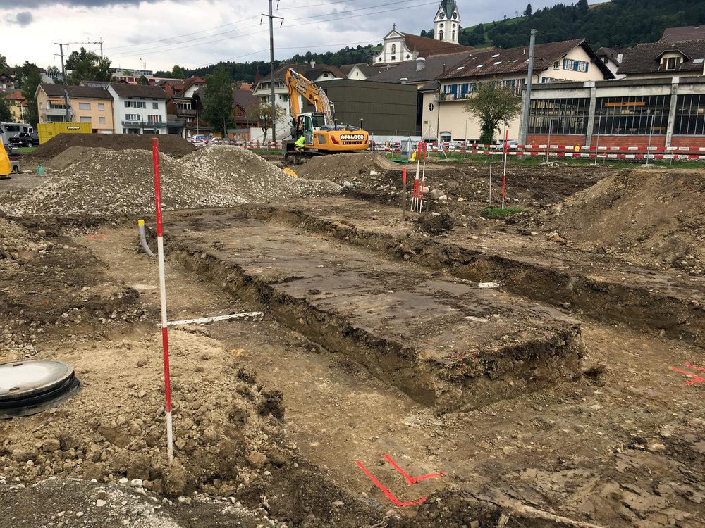 Graben für das Betriebsgebäude