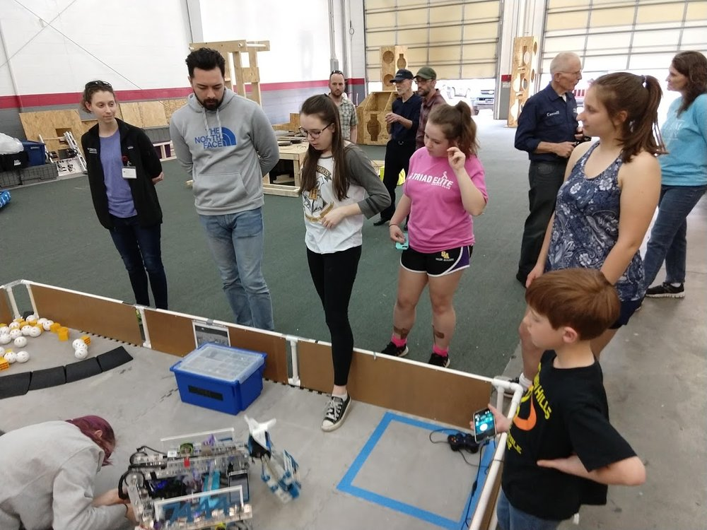 Hosted practice sessions for FTC teams, including both Salem Academy teams (Sisters of the Motherboard and Code Sisters). Here they are demoing to the local IEEE group.