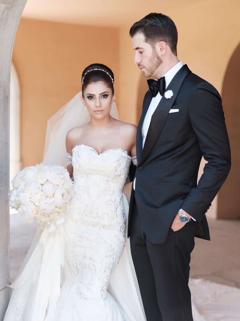 Bride at wedding in bridal gown in los angeles