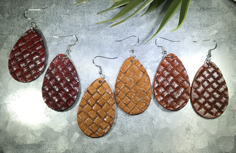 1af834e3d Basket weave hand stamped leather earrings-teardrop — It Must Be a Sign