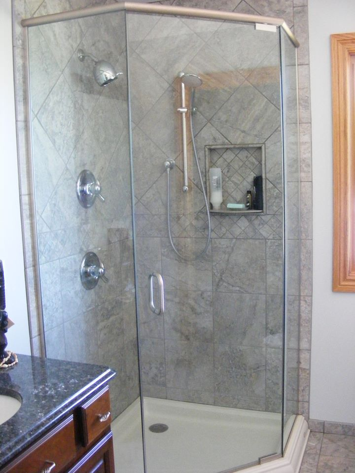 3 Panel Stand Up Shower Glass Header System