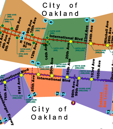 Revisions planned for R1 bus route. Oakland, California.