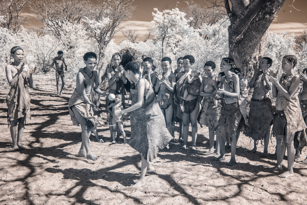 The San People of Namibia playing ball.