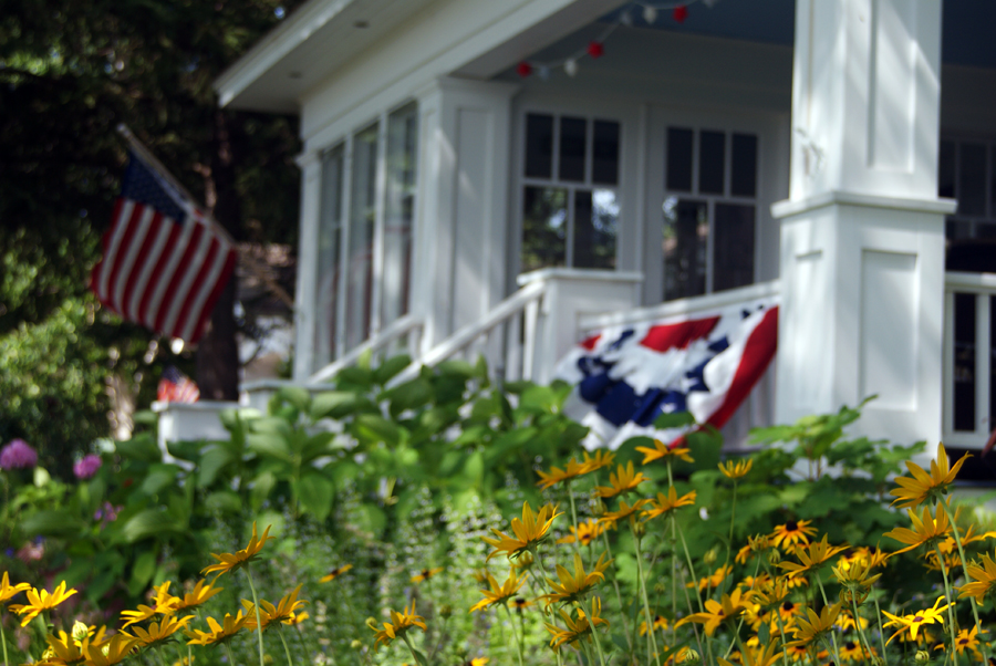 harbor springs cottage july fourth black eyed susan hydrangea flag landscaping services