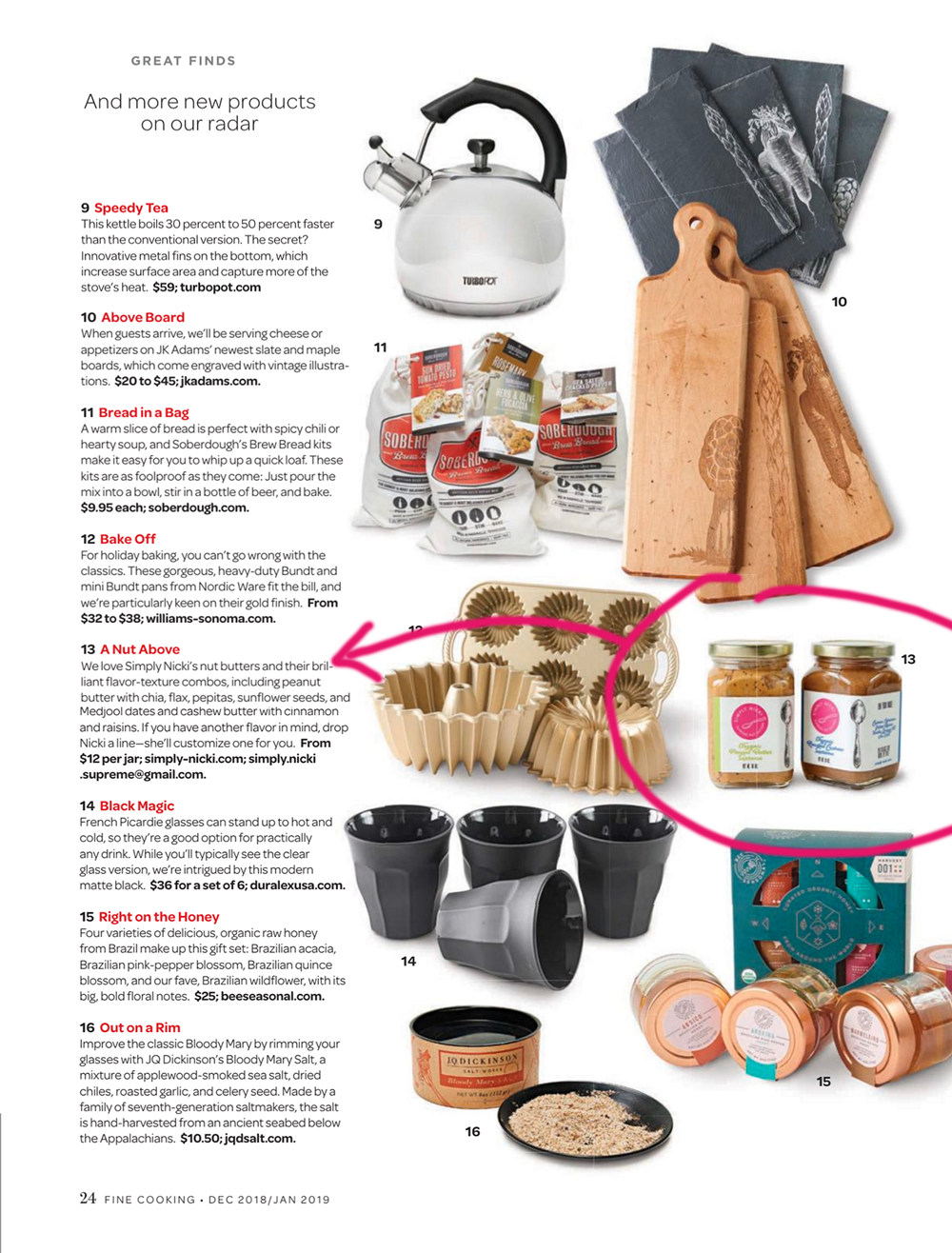 Simply Nicki Supreme Nut Butters appearing in Fine Cooking Magazine's Dec/Jan 2019 Issue