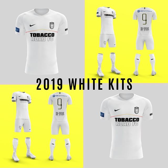 And we present our 2019 @uslleaguetwo white kits! Available for purchase now! . . . #trfc #tobaccoroadfc #durham #durm #path2pro #bestofdurham #bullcitysoccer #bullcitystrong #jersey #icy #uslleaguetwo #dedication #dukesportsmedicine #hiwire