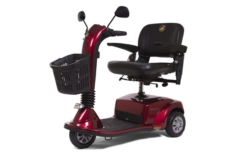 Golden Companion 3-Wheel    Weight capacity of 350 lbs.    Maximum speed of 4.5 mph & range of 15.5 miles