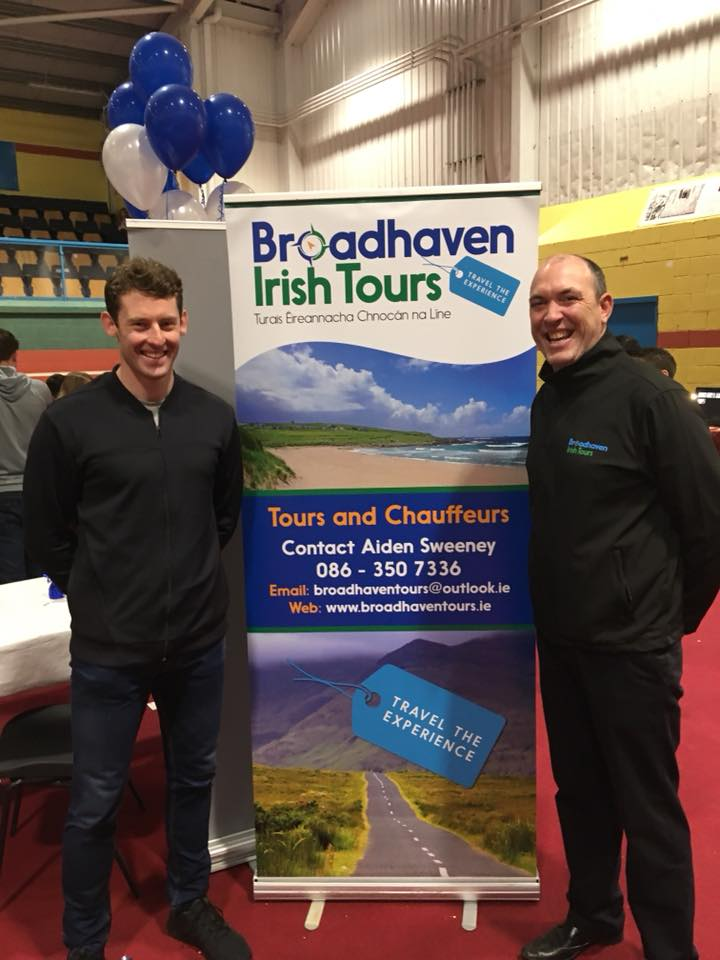 Aiden Sweeney (right), director of Broadhaven Irish Tours with Mayo goalkeeper David Clarke