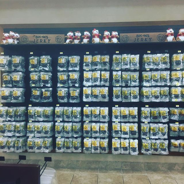 When one animal isn't enough, kill whatever moves and dehydrate it seems to be the motto at @bucc_ees with this wall of jerk. #buccees #texas #everythingisdrierintexas