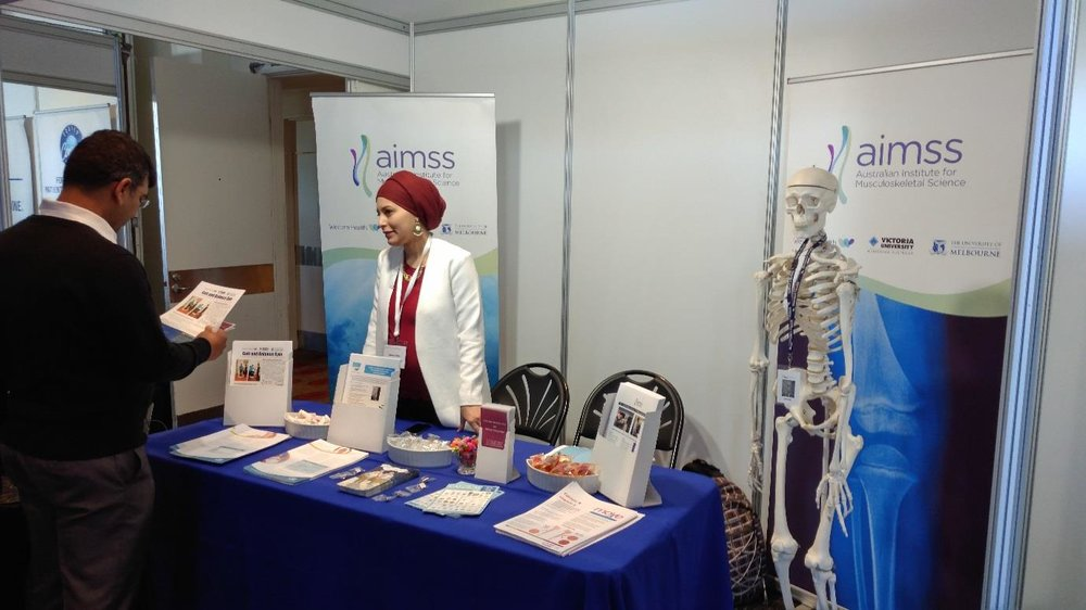Hadeer Fatlee at the AIMSS Booth, ANZSSFR 2016 Conference, Melbourne