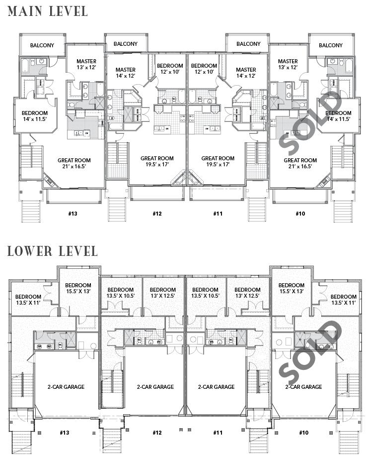 Frostwood - Uphill Fourplex Floorplans