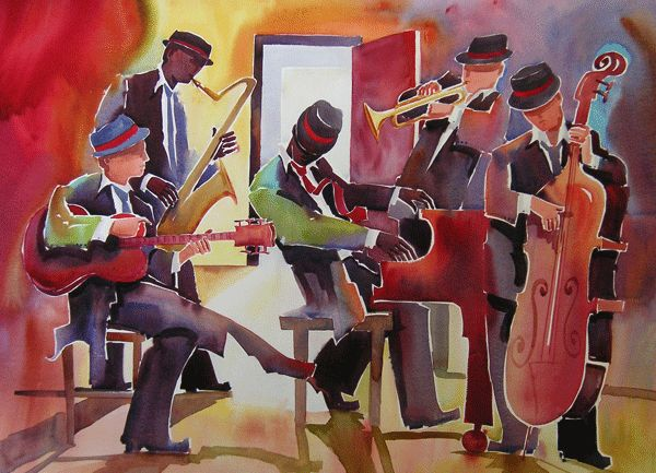 Hoover, Deborah L.  Open Door Jazz.   Watercolor.