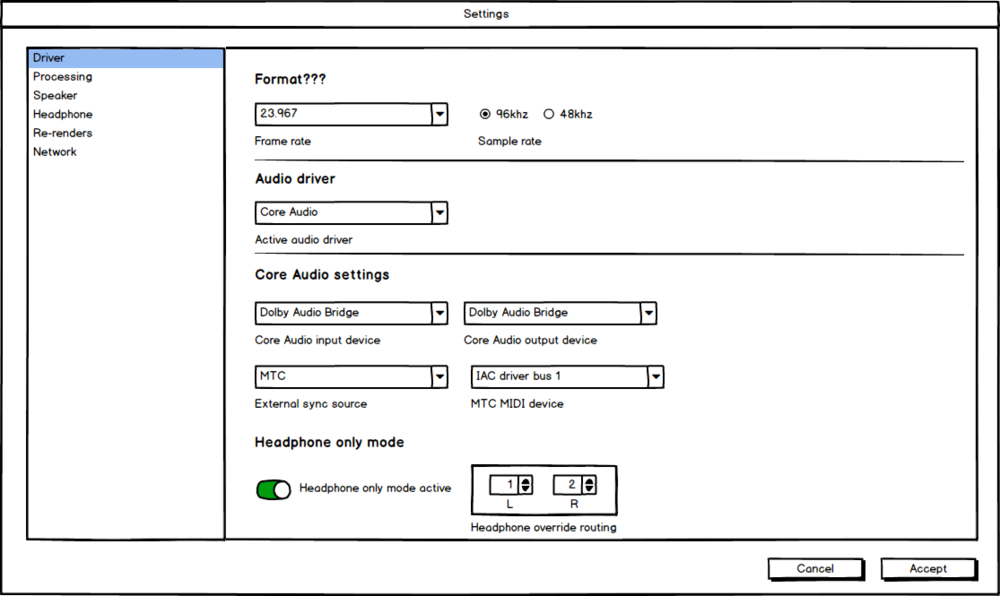 Wireframe of settings page