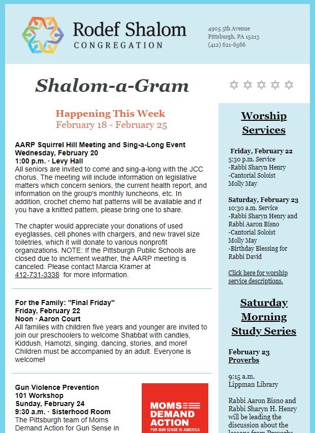 Shalom-a-Gram: Feb  18 — Rodef Shalom