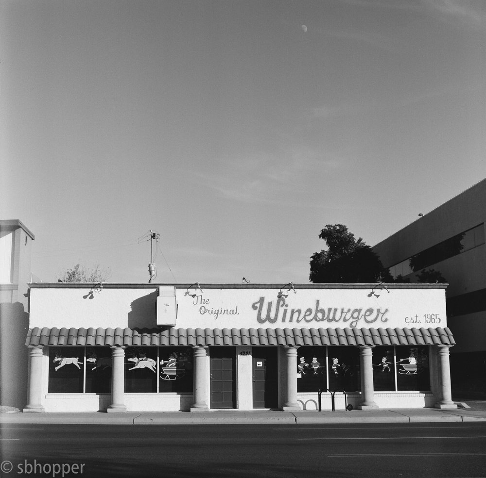 The Original Wineburger, Melrose, Phoenix, shot on Hasselblad 500c/m. This is the third restaurant I have seen in this space. I hope one of the ideas sticks.