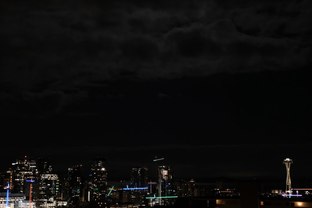 Seattle, 28 February 2018. A friend mentioned we had a full moon. It was pretty bright out, which means I underexposed this one. But I liked it.