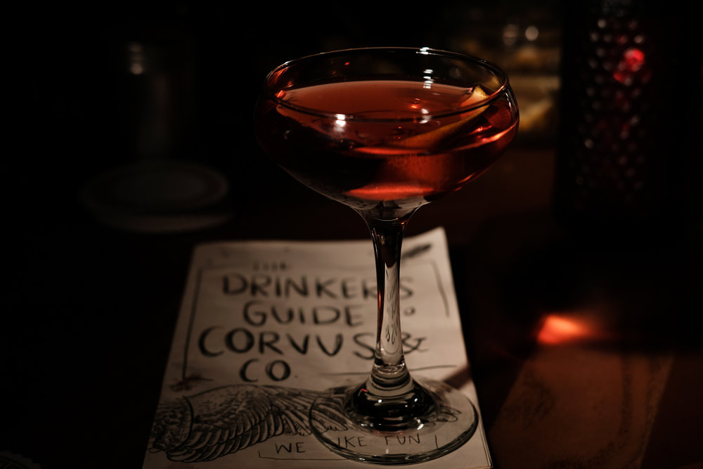 Boulevardier by Kenna, Drinker's Guide to Corvus by Kate Berwanger. Fujifilm X-H1 | 200 | f/7.1 | 1/250th with Godox TT350F.