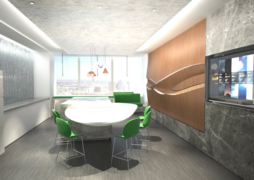 The pantry was designed with natural textures and colors. We wanted it to be a comfortable break zone.