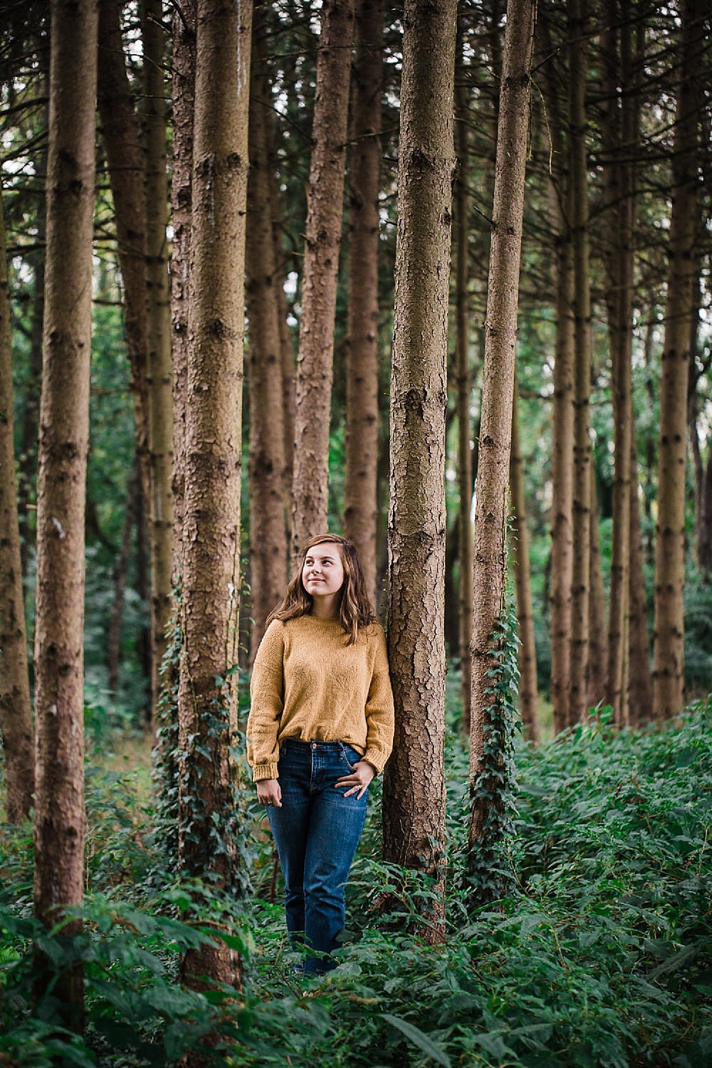 Lancaster senior session photo of a young girl in a yellow sweater and jeans standing in a pine forest.