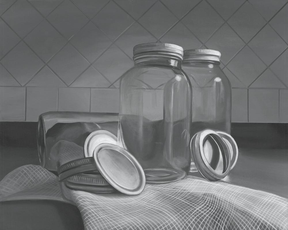 """Mason Jars"", 16""x20"", acrylic on illustration board, 2016"