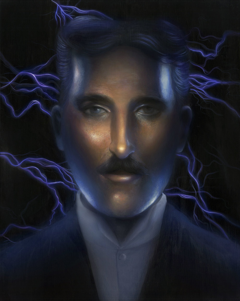 """NIKOLA TESLA: POWER""  Acrylic on panel board, edited digitally, 16""x20"", 2017"