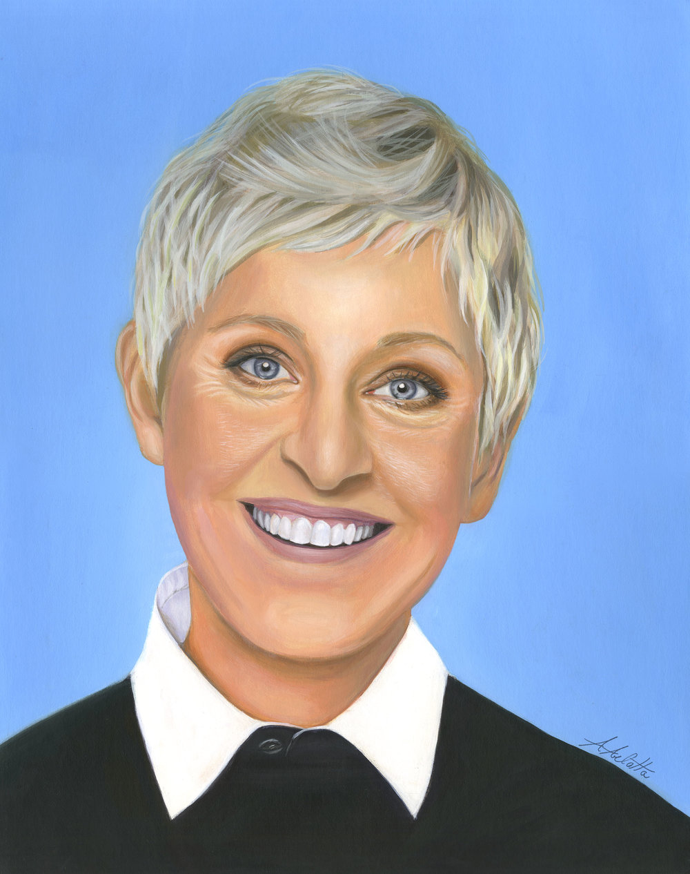 """ELLEN DEGENERES""  Acrylic on illustration board, 16""x20"", 2016"