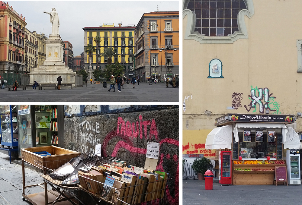 Piazza Dante is full of used book stands and cafes.