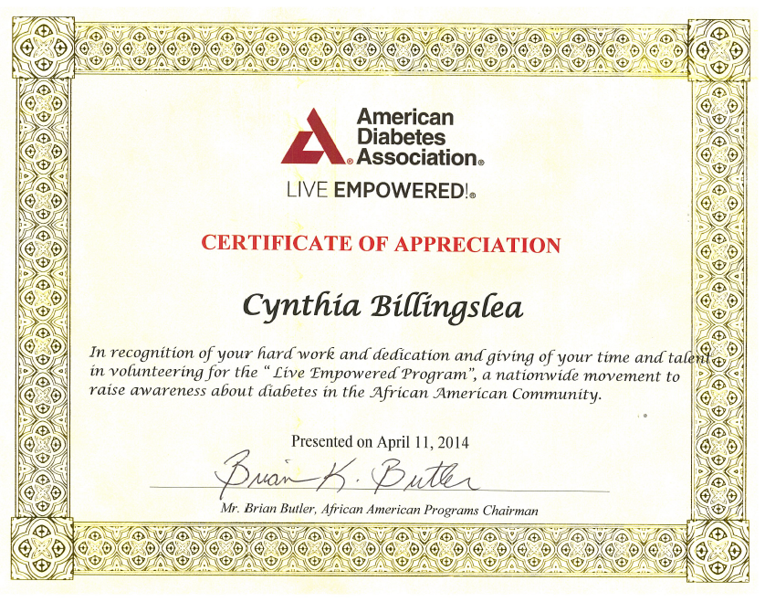 Acknowledgements-certificate-american-diabetes-association-cynthia-billingslea.PNG