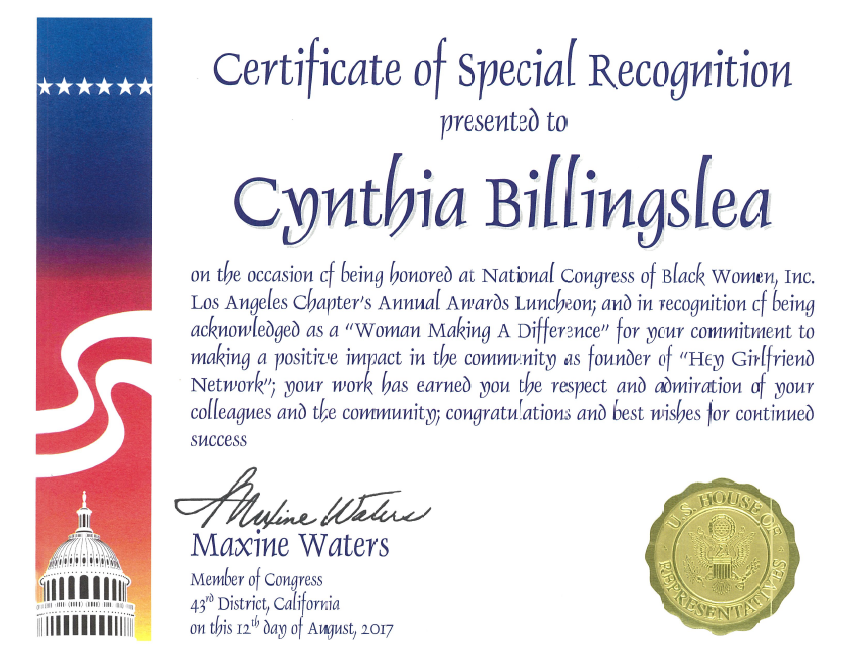 Acknowledgements-certificate-congress-maxine-waters-cynthia-billingslea.PNG