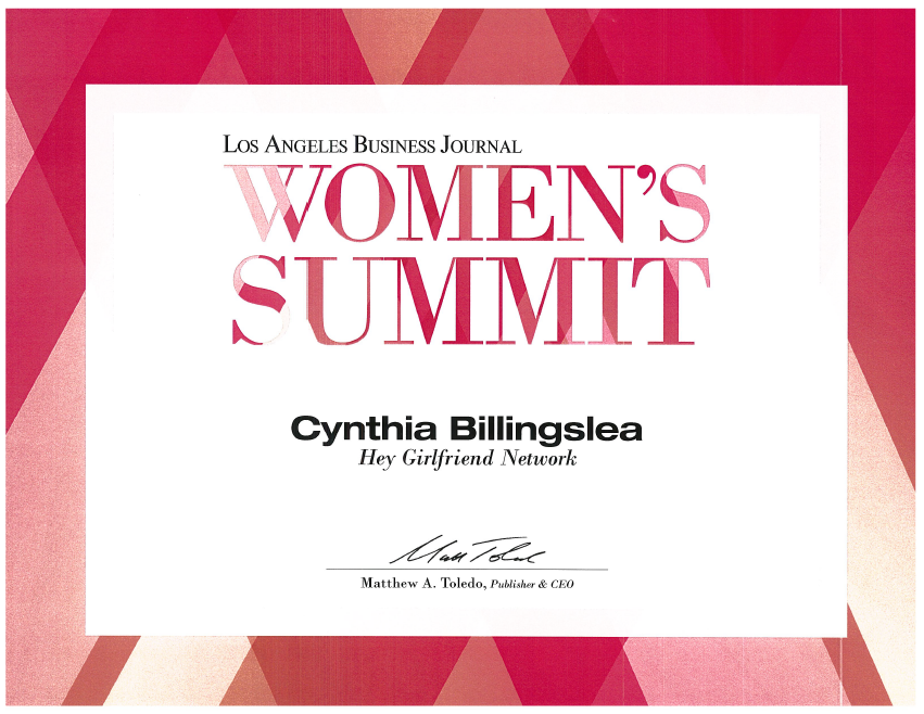 Acknowledgements-certificate-womens-summit-los-angeles-business-journal-cynthia-billingslea.PNG