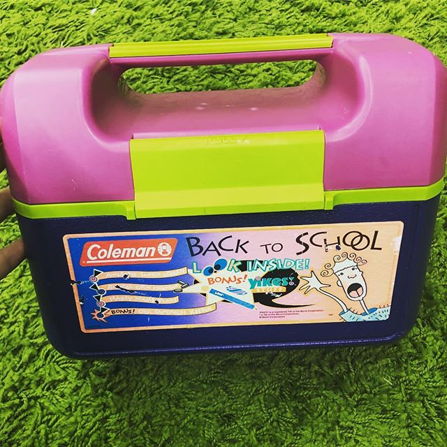 This Coleman lunchbox reminded me about Yikes! brand school supplies. Unfortunately, there are no longer any Yikes! brand school supplies inside, but shoutout to the previous owner of this baby for leaving the sticker that advertised the fact that they once were included with the purchase of this lunchbox. Oh yeah, it's $14. DM to purchase or ship! . . . . #that90sshop #stl #stlouis #florissant #flomo #noco #90s #retro #nostalgia #childhood #90skid #school #backtoschool #bts #schoolsupplies #lunchbox #yikes #coleman #cooler #gift #giftideas #funnygifts #whiteelephantgift #secretsanta