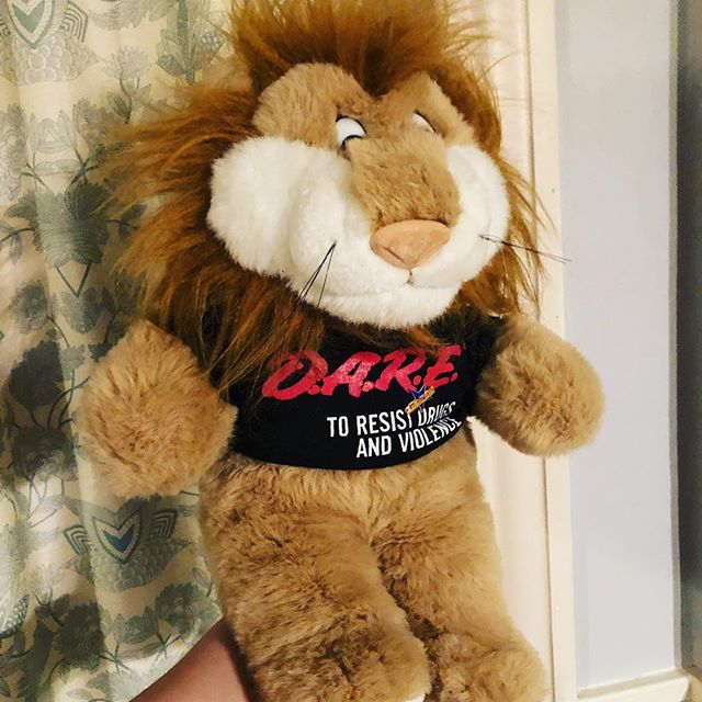 "Just say YES to Daren the Lion and his plush-sized D.A.R.E. tee and pin! This big guy is 18"" tall and his tag says he's from 1999. $21 in the store or comment or DM is for shipping info. . . . #that90sshop #stl #stlouis #florissant #flomo #noco #dare #justsayno #darenthelion #darenthedarelion #dareprogram #90sdare #dareshirt #daretshirt #90skid #nostalgia #90s #millenial #gift #christmas #giftideas #plush #vintageplush #lion #liontoy"