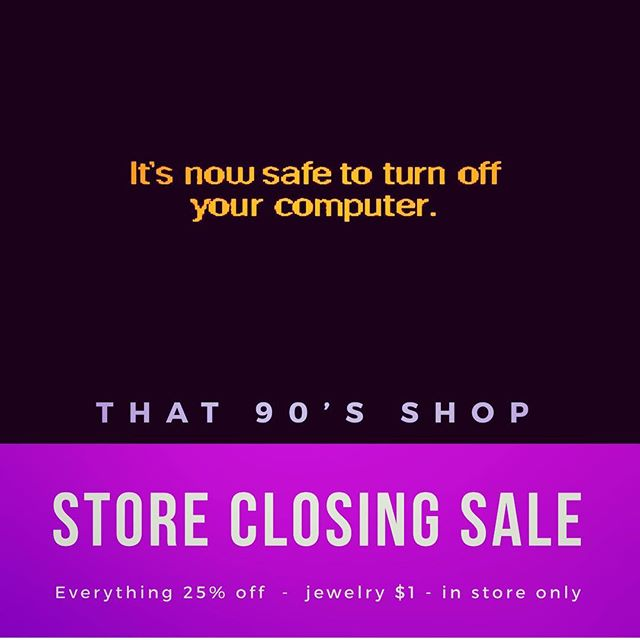 Big news- in 2019, That 90's Shop is transitioning to an online-only business. We're sad to say goodbye to our beautiful space in Florissant, but thrilled to be able to keep growing and selling our vintage treasures to people all over the world.  You're going to see more Instagram sales, more 90's specific merch in our Etsy shop, and more pop up sales from us in the coming year.  For now, we need to wind down our inventory! Help us clear out our retail store starting Thursday 1/3 with 25% off EVERYTHING in store and ALL JEWELRY $1! Can't wait to see you! Happy New Year! . . . #that90sshop #stl #florissant #flomo #noco #smallbusiness #sale #storeclosing #everythingmustgo #90s #90skid #90sstore #90sstyle #millenials #nostalgia #shopstl #vintageshop #vintagestore