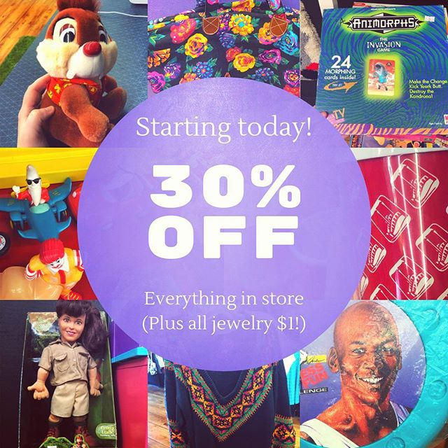 We're open 11-5 today and all clothing, housewares, toys, books and more are 30% OFF! Get the good stuff before it's gone forever! . . . #that90sshop #stl #stlouis #florissant #flomo #noco #vintage #90s #nostalgia #vintagestore #millenials #sale #clearance #storeclosing #shopstl #shoplocal