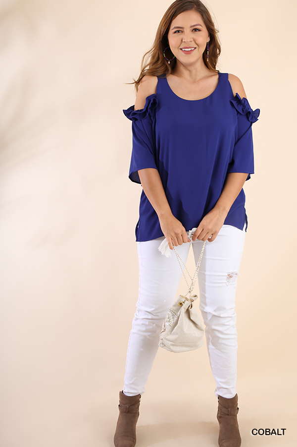 4a015a504debc1 Cobalt blue ruffle cold shoulder top — The Stompin  Donkey Boutique