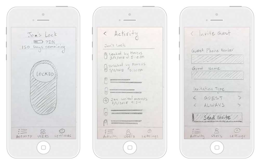 IDEATION: Using the functional design content as a guide, I sketched on paper to rapidly ideate and iterate layout designs. This saved me time working in low fidelity rather than trying to figure things out in Sketch.