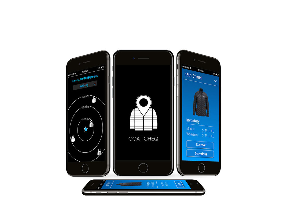 COAT CHEQ:  A jacket rental service designed using the sharing economy model. The system contains three components: the app (picture above), an interfaced locker, and instrumented jackets.