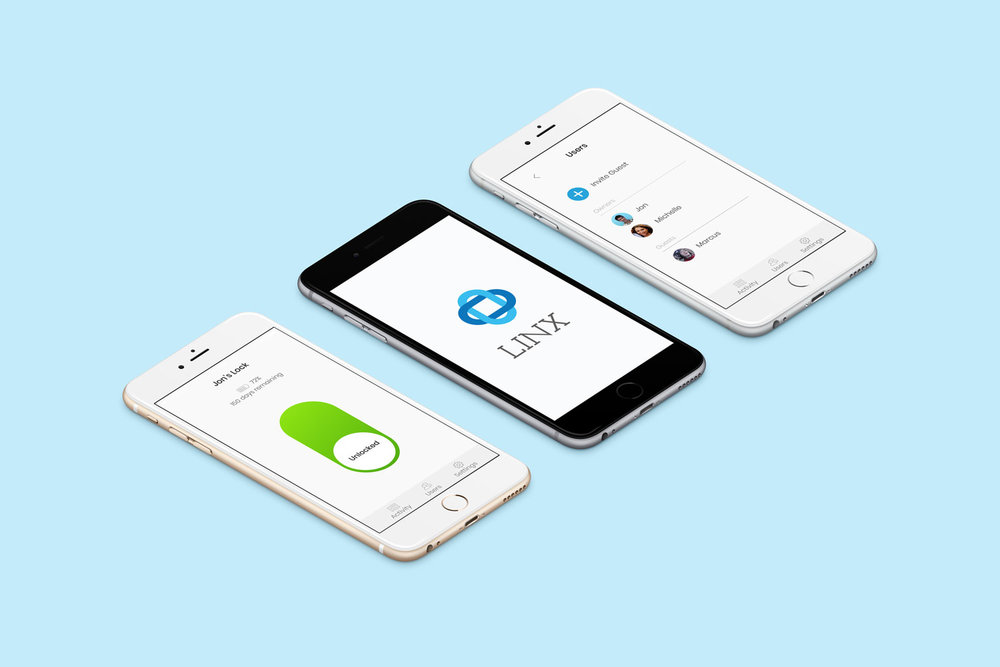 LINX: A bluetooth bike lock and paired app. With the app, users can control the lock from their phone and send invites to share access with new owners and guests.
