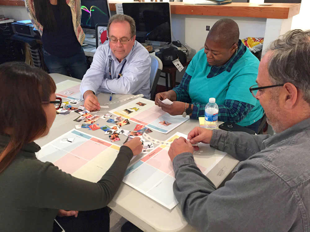 PARTICIPATORY DESIGN WORKSHOP:  We held the workshop at the main 6th Street studio with people from every stakeholder group participating. Because of my background as a program director, I facilitated the workshop and ran the activities.
