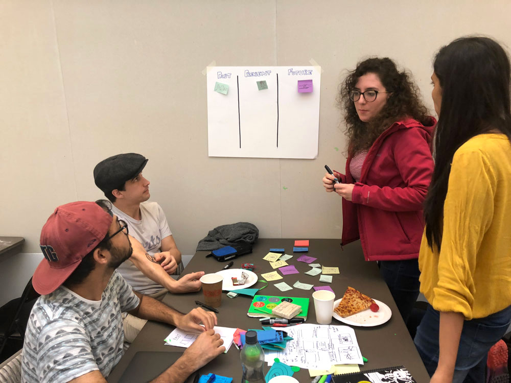 WORKSHOP PREP: We organized a participatory design workshop to get input and buy-in from the organization when building the toolkit. We prototyped and iterated on the workshop activities to make sure they would be as effective as possible when implemented.