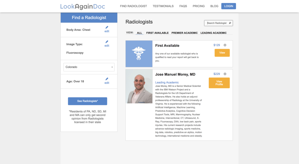 Radiologist Listing page