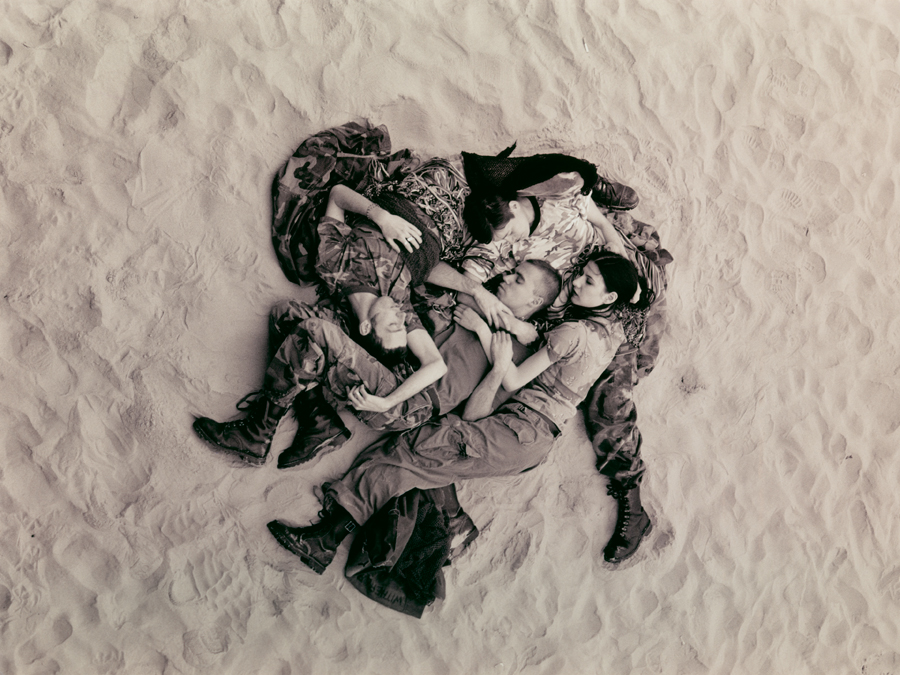 Wolfgang Tillmans,  Lutz, Alex, Suzanne & Christoph on beach (b/w) , 1993