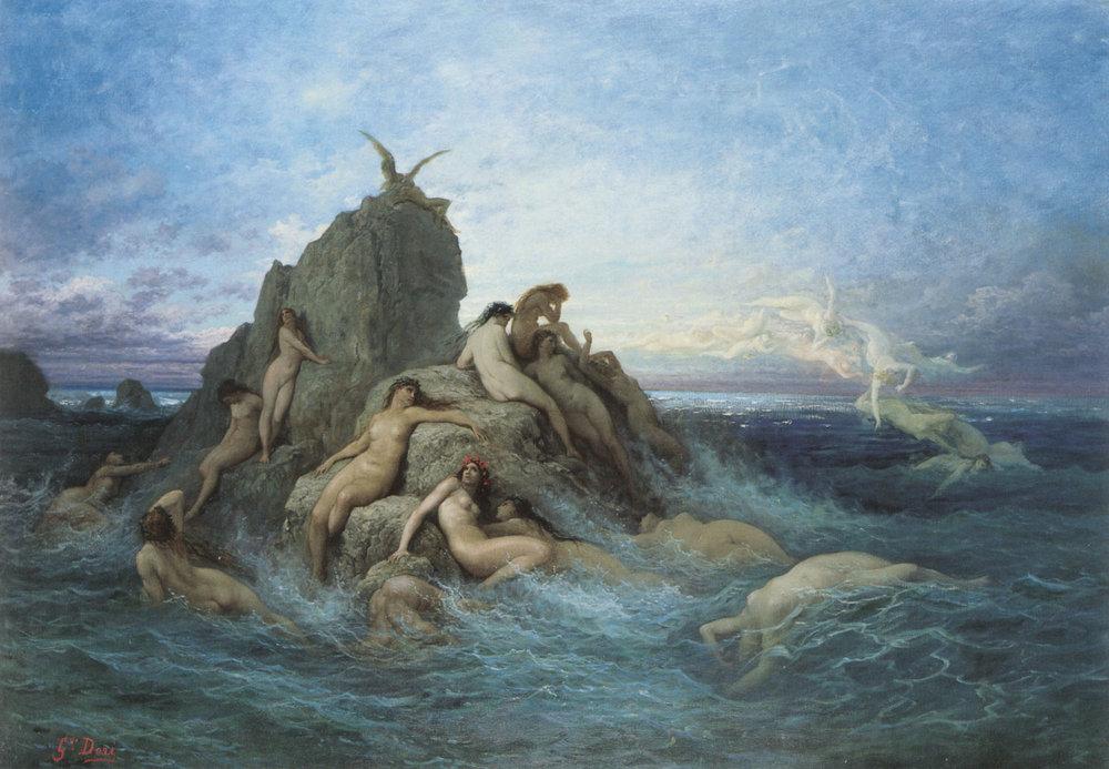 Gustave Doré, Les Oceanides Les Naiades de la mer ,circa 1860/1869