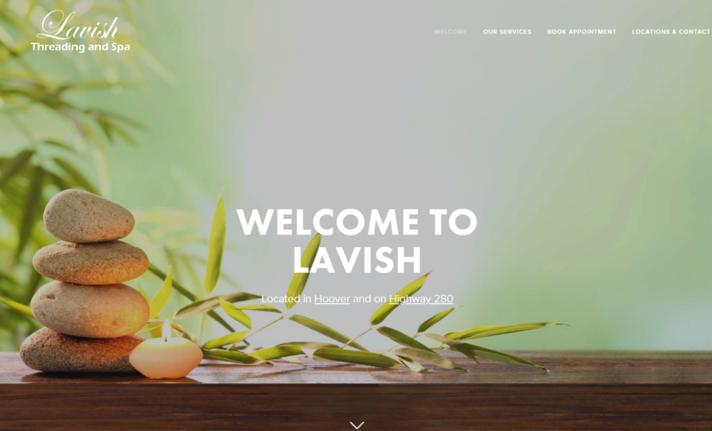 Lavish Threading - Simple site designed for local threading and spa company in Hoover, Alabama.