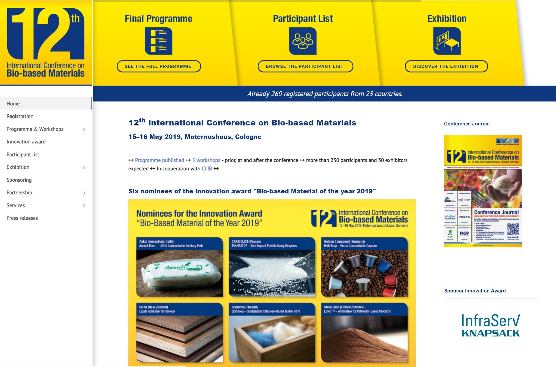 12th International Conference on Bio-based Materials — Enabling