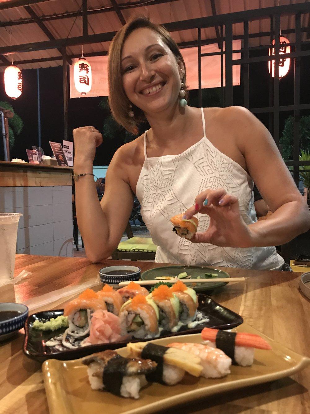 Christmas Sushi - Chopsticks handling - beginner level