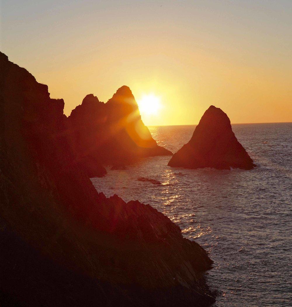 View of sunset Newport, Pembrokeshire