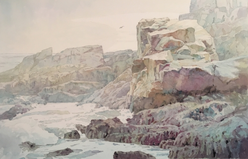 Watercolor of Maine coast.