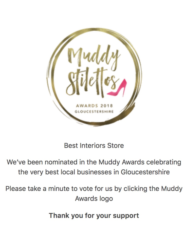 Nominee! - The Chunky Needle is so excited to announce that we've been nominated in the Best Interiors Store category in the Muddy Stiletto Awards 2018! Be sure to nominate us further in order for TCN to get to the next round of voting. Click HERE to vote for us today!26/04/18