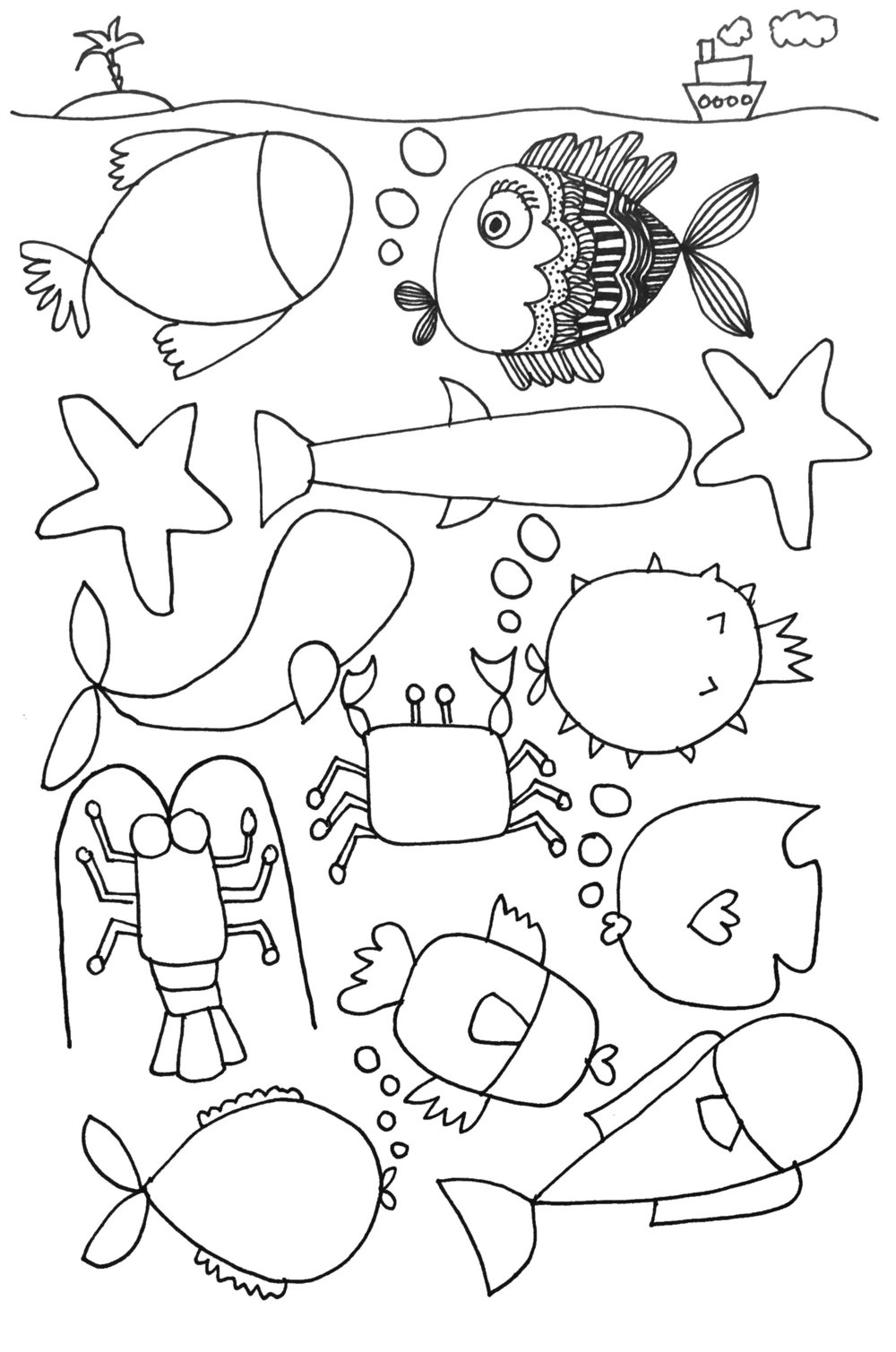 Complete the under sea doodle.